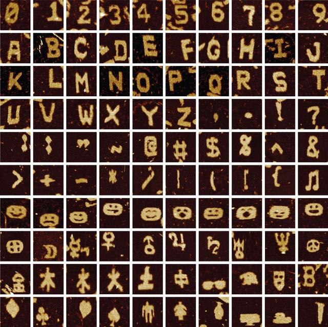 Przykład symboli zbudowanych z pomocą SST DNA. / Przedruk za zgodą Macmillan Publishers Ltd.: Wei et al., Nature 485: 623–626 ©2012