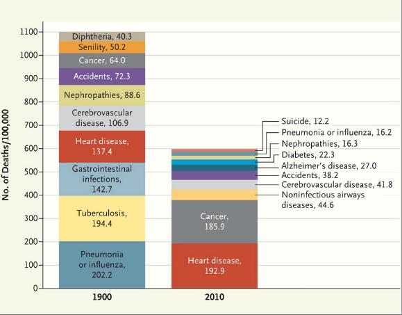 Porównanie przyczyn śmierci w roku 1900 i 2010. /Przedruk za zgodą Massachusetts Medical Society: Jones et al., NEJM 366: 2333 ©2012