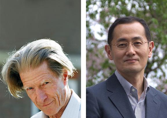 Z Noblistami twarzą w twarz: po lewej John Gurdon, po prawej Shinya Yamanaka. /źródło: materiały prasowe Komitetu Noblowskiego