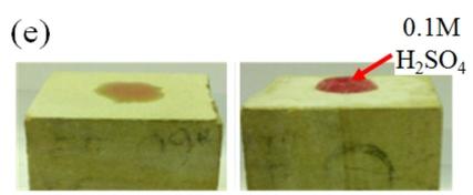 Po lewej oryginalny XIX-wieczny kamień wapienny stosowany w budownictwie; po prawej taki sam kamień pokryty nową powłoką. Do roztworu kwasu siarkowego, który został naniesiony na oba kamienie, dodano czerwonego barwnika, aby lepiej można było zaobserwować zachowanie roztworu gołym okiem. /Przedruk za zgodą Macmillan Publishers Ltd.: Walker et al., Sci Rep 2: 880 (2012); doi: 10.1038/srep00880