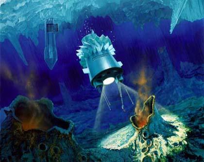 Artystyczne wyobrażenie tego, jak wyglądać będzie robotyczna eksploracja dna Wostoku. /źródło: wiki (domena publiczna)
