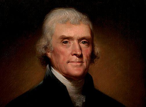 Portert Tomasza Jeffersona z roku 1800 - tuż przed prezydenturą oraz ojcostwem. /źródło: wiki; domena publiczna