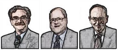Od lewej do prawej wizerunki Randy'ego Schekmana, Jamesa Rothmana oraz Thomasa Südhofa, laureatów Nagrody Nobla z dziedziny fizjologii i medycyny za rok 2013.