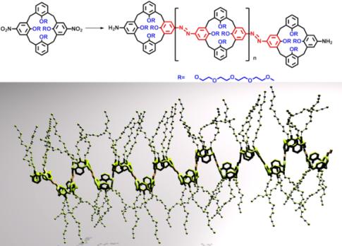 Na górze schemat polimeru powstałego z połączenia wielu kaliksarenowych monomerów. Na dole trójwymiarowy model pokazujący jak wygląda polimer, gdy wiązania łączące poszczególne jednostki znajdują się w pozycji trans. /Dzięki uprzejmości Szymona Wiktorowicza