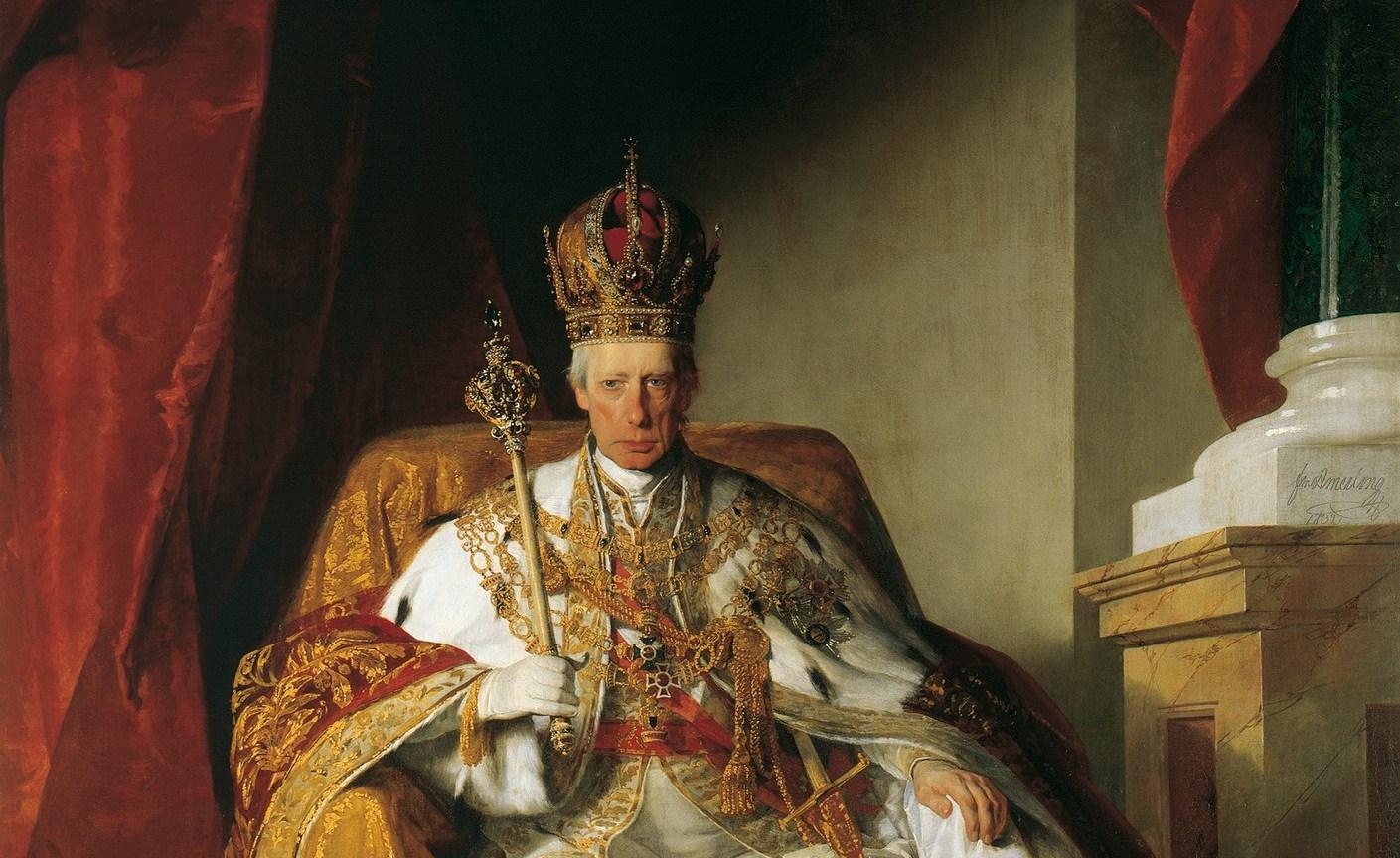 Austriacki Kaiser, Franciszek II Habsburg, który wyraźnie zajmuje stanowisko adekwatne do... A, zaraz...