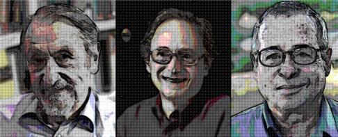 Tegoroczni laureaci Nagrody Nobla z chemii; od lewej: Martin Karplus, Michael Levitt i Arieh Washel