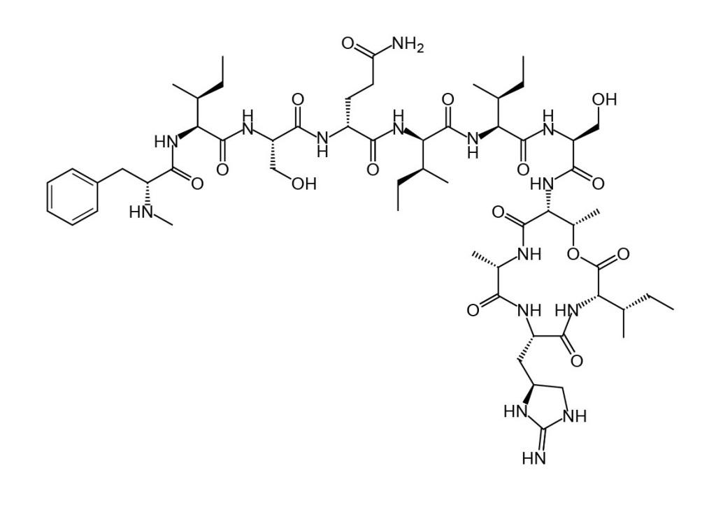 Struktura chemiczna teiksobaktyny.