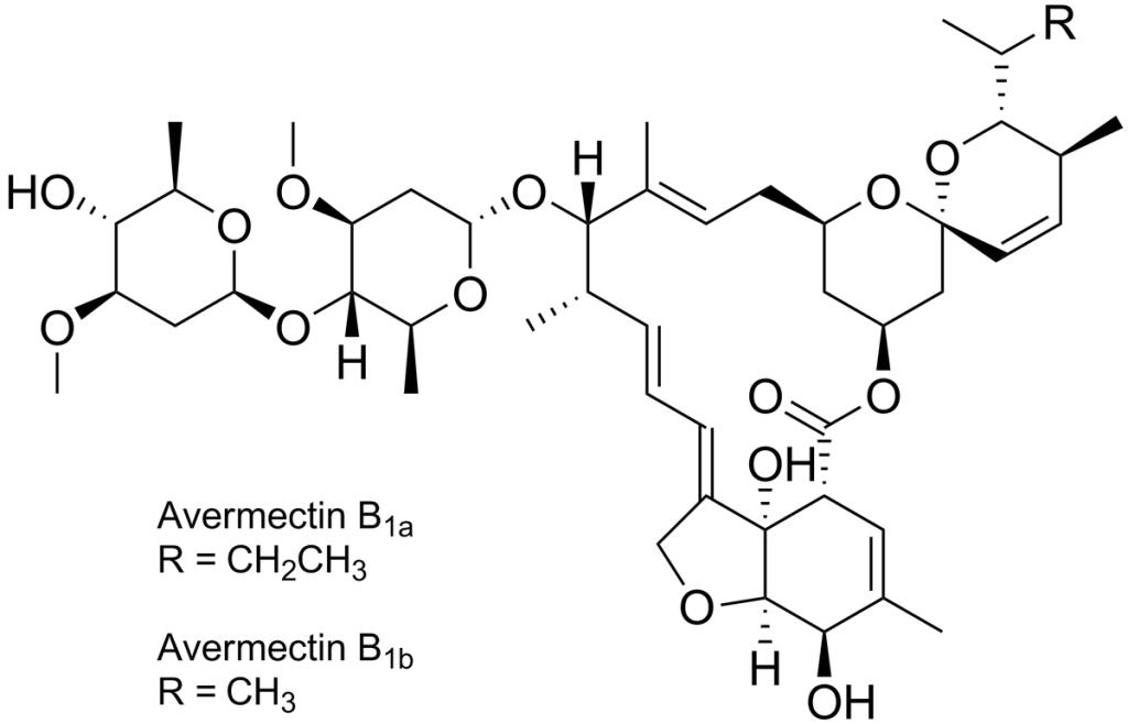 Struktura awermektyn B1a oraz B1b, które wchodzą w skład iwermektyny.