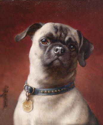 Obraz Carla Reicherta przedstawiający mopsa: psa jednej z ras pochodzących z Chin.
