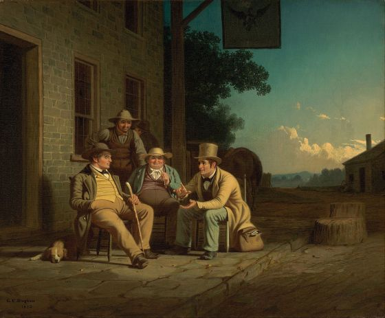 George Caleb Bingham's positive portrayal of a candidate canvassing in the United States in 1852